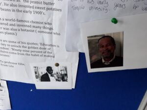 a close up of student work introducing two black scientists